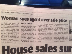 Woman sues estate agent over sale price